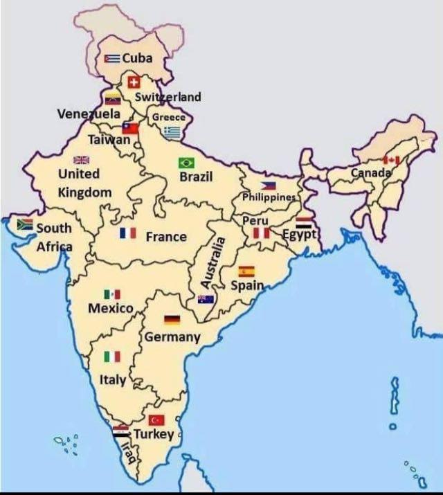 India  size big as many countries