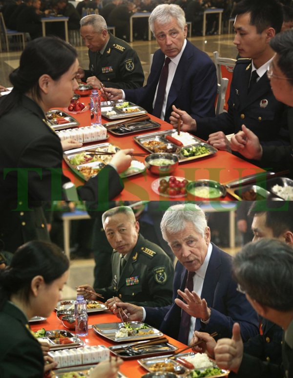 CHINA Chuck Hagel lunching with young PLA officers