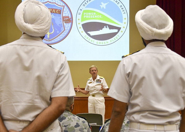 160706-N-HM829-001 PEARL HARBOR (July 6, 2016) Commander, U.S. 3rd Fleet Vice Adm. Nora Tyson addresses international forces after a Task Force Energy and Environment (TFEE) training symposium held at the Joint Base Pearl Harbor-Hickam Conference Center on Ford Island. Twenty-six nations, more than 40 ships and submarines, more than 200 aircraft, and 25,000 personnel are participating in RIMPAC from June 30 to Aug. 4, in and around the Hawaiian Islands and Southern California. The world's largest international maritime exercise, RIMPAC provides a unique training opportunity that helps participants foster and sustain the cooperative relationships that are critical to ensuring the safety of sea lanes and security on the world's oceans. RIMPAC 2016 is the 25th exercise in the series that began in 1971. (U.S. Navy photo by Mass Communication Specialist 2nd Class K. Cecelia Engrums/Released)
