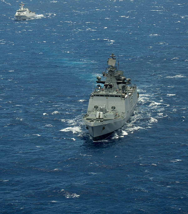 160728-N-SI773-3000 PACIFIC OCEAN (July 28, 2016) Indian Navy Shivalik-class stealth frigate INS Satpura (F48) steams in close formation as one of 40 ships and submarines representing 13 international partner nations during Rim of the Pacific 2016. Twenty-six nations, more than 40 ships and submarines, more than 200 aircraft, and 25,000 personnel are participating in RIMPAC from June 30 to Aug. 4, in and around the Hawaiian Islands and Southern California. The world's largest international maritime exercise, RIMPAC provides a unique training opportunity that helps participants foster and sustain the cooperative relationships that are critical to ensuring the safety of sea lanes and security on the world's oceans. RIMPAC 2016 is the 25th exercise in the series that began in 1971. (U.S. Navy Combat Camera photo by Mass Communication Specialist 1st Class Ace Rheaume/Released)