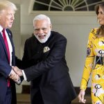Washington DC: Prime Minister  Narendra Modi meeting the President of United States of America (USA), Donald Trump and the first lady of USA, Melania Trump  at White House, in Washington DC, USA on Tuesday.PTI Photo /pib(PTI6_27_2017_000029B)